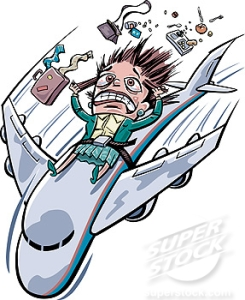 A frightened woman strapped onto a plane