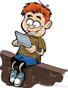 cartoon-boy-playing-hand-held-computer-gamer-19756498